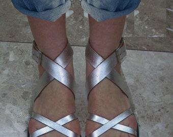 Sandals Women,Women Sandals,Leather Sandals,Handmade Sandals,Silver Sandals,Ladies Santals, Metallic Sandals,BELLE HELENNE