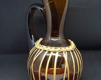 french wine smoked glass water pitcher and rattan jug 1970 french rattan 1970's shape and smoked glass wine pitcher water jug