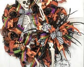 Skeleton Wreath, Halloween Wreath, Deco Mesh Orange & Black Wreath, Front Door Wreath, Skeleton Front Door Decor, Halloween Skeleton