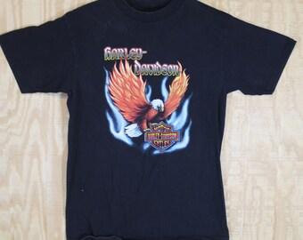 Vintage 1990's HARLEY DAVIDSON Jim's St Petersburg FL Holoubek Cotton T Shirt T-shirt Tee Medium Large