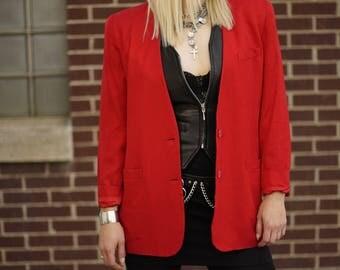 Vintage Red Collarless Rayon Blazer | Tailored Jacket | Suit Jacket | M