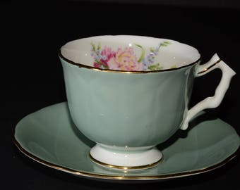 AYNSLEY, Vintage, Jade Green, Teacup and Saucer, 29, Green Tea Cup, Bone China, Gold Rimmed, England, floral design, turquoise teacup