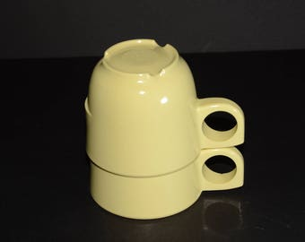 Vintage MELMAC Pastel Yellow Nesting Mugs #305 -  G.P.L. Set of 2 - Hard Plastic Stacking Coffee Cups, Canadian, melamine teacup set