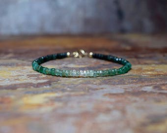 Ombre Emerald Bracelet, Emerald & 14k Gold Filled Gemstone Bracelet, Natural Emerald Jewelry, Handmade Jewellery UK, Handcrafted Wife Gift