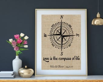 Love is the compass of life Wedding Gift, Compass Quote Gift, Gift for Bestfriend Gift, Burlap Print Gift, Bestfriend Wedding