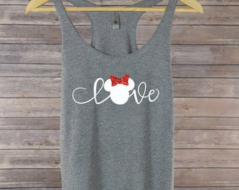 Glitter Minnie Bow Love Tank: 9 Colors Available- Disney Shirt for Women