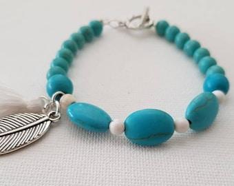 Bracelet, Beaded Bracelet, Turquoise Bracelet, Tassel Bracelet, Leaf Charm Bracelet, Fashion Bracelet, Bohemian Bracelet, Clasp Bracelet