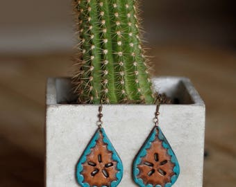 Leighton Turquoise Cutout Earrings | Leather Earrings | Birthday Gift | Anniversary | Gifts under 25 | Handmade | Gifts for Her