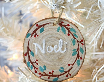 Noel Wreath Hand painted Wooden Christmas Ornament
