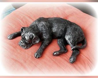 Boxer dog art sculpture Bronze