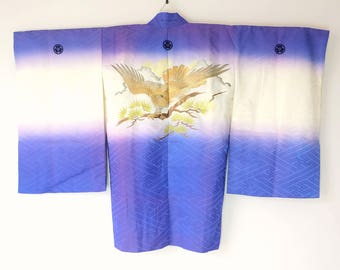 Authentic Japanese Vintage Boy's Long Haori Kimono Jacket Gold Hawk M94