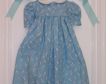 """Cotton Baby Girl Dress. 4 to 6 Months. 100% Cotton. """"Give Your Dog A Bone"""", VIntage Pattern"""