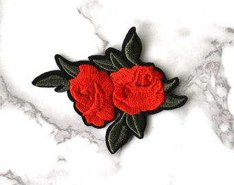 ONE Cool Red Rose Iron On Patch, Cute Boho Flower Fabric Patch, Embroidered Patch, Free Spirit, Funny Fashion Birthday Gift For Her Under 10