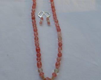 "20"" Cherry Quartz with Flower Pendant and Earrings on Lever Backs"
