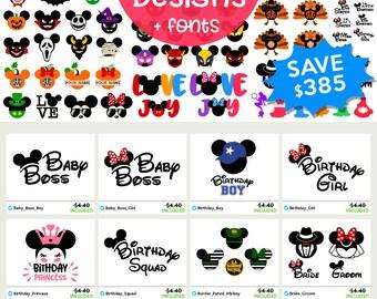 DISNEY Svg Disney Files Svg Disney Bundle Svg Mickey & Minnie Ears Disney font, Monograms, Cricut cut file, Silhouette Dxf Eps Png Clip art