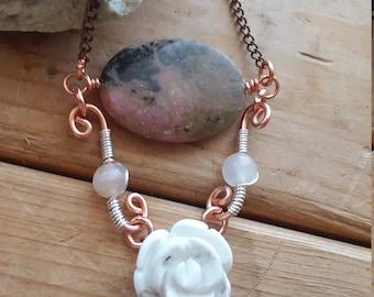 Gemstone Pendant, Gemstone Necklace, Pendant Necklace, Stone Pendant, Rhodonite, Howlite, Rose Quartz