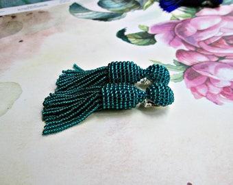 Emerald color/ oscar de la renta/ handmade/ wedding arrings/ Unique Gift