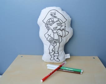 pirate coloring pillow