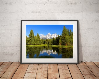 Snow Capped Mountain Reflection - Schwabacher Landing - Grand Teton National Park - Snake River - Wyoming - Photography - Giclee Photo Print