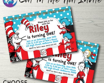 Cat in the Hat Invitation, Cat in the Hat Invite, Dr Suess Invitation, Dr Suess Party, Cat in the Hat Party, Book Theme Invitation Printable