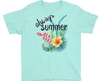 Always Summer - Tropical Island Vacation Floral Beach Kids/Youth Short Sleeve T-Shirt