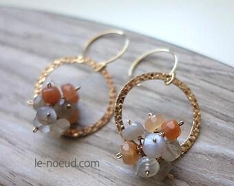 Multi Color moonstone K14GF Earrings