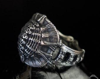 Carapace Ring | Dark Souls Ring | Gothic ring | Alien Ring | Bone Ring | Armour Ring | Shield Ring | Giger Ring | Biomechanical Ring