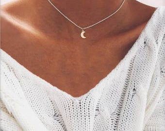 Moon Necklace, Dainty Moon Necklace, Choker Moon Necklace, Delicate Moon Necklace, Simple Moon Necklace, Silver Moon Necklace, Crescent Moon