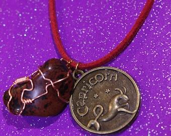 Mahogany Jasper Tumblestone Capricorn Zodiac Charm Faux Suede Handmade Copper Wrapped Slip Knot Vegan Necklace