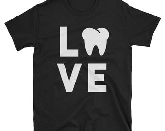 Funny Dentist Shirt, Cute Gift for Dental Hygienist Assistant, I Love Teeth T-Shirt, Novelty Gag Humor Gifts for Dentists Staff Surgeons Tee