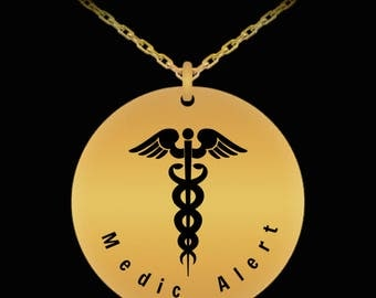 Medical alert necklace, Gold Plated 18ct necklace, Engraved medical necklace, Medic alert, Medic alert necklace, Medic charm,Medical charm
