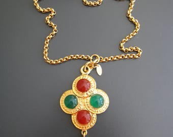Authentic Vintage *RARE* Gripoix Glass Necklace Green and Emerald Red