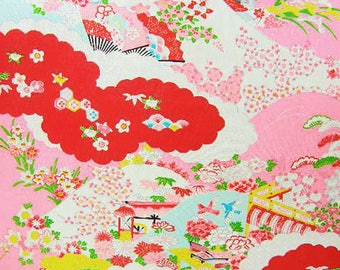 Vintage Japanese Silk Fabric – Childrens Kimono Fabric, Made in Japan – Japanese Good Fortune Symbols – Pink Red Colorful Silk Fabric