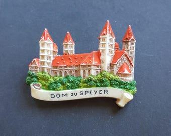 1950s 50s vintage German celluloid brooch/ castle / souvenir
