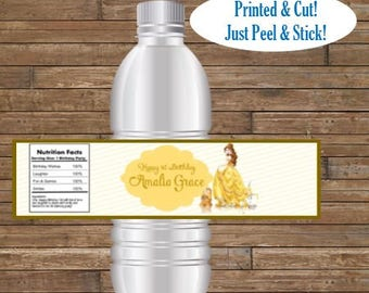 Personalized Belle Water Bottle Labels     Beauty and the Beast Birthday     Disney Princess Party