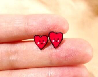 Asymmetrical heart earrings, heart studs, heart earrings, kawaii hearts, kawaii studs, tiny earrings, tiny studds, heart stud earrings