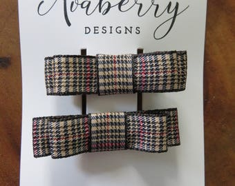 Hounds Tooth Double Bow Hair Clip