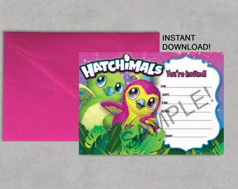 Hatchimals Printable Birthday Party Invitation DIY Blank Fill it in yourself Instant Download Jpeg Pdf 5X7 Invite