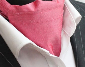 Cravat Ascot. 100% Silk Front. UK Made. Pink Dupion Silk + matching hanky.
