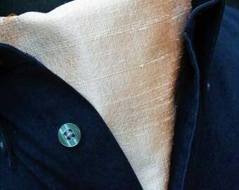 Cravat Ascot.100% Silk Front. UK Made. Lt Gold Dupion Silk + matching hanky.