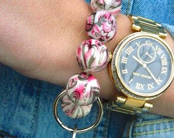Keychain Bracelet, Bracelet Keychain, Beaded Keychain, Key Wristlet, Handsfree Keychain, Bracelet for Keys,  Fashion Keychain, Valentines