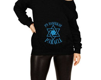 Hanukkah Pregnancy Sweater Baby Announcement Maternity Reveal Expectant Mother Holiday Pullover Off The Shoulder Slouchy Sweatshirt TEP-513