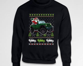 Funny Christmas Sweater Ugly Xmas Sweatshirt 4x4 Jeep Santa Claus Holiday Present For Men Gifts For Dad Christmas Pullover Hoodie TEP-562
