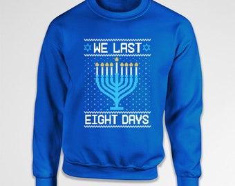 Ugly Holiday Sweater Happy Hanukkah Gift Chanukah Sweatshirt Hanukkah Menorah Jewish Clothes Holiday Present Hoodie Crewneck TEP-581
