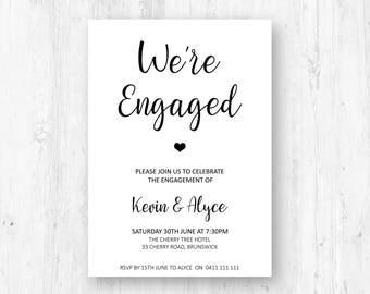 Modern engagement invitations printable engagement party invitation, rustic engagement invite, we're engaged printable invites digital W03