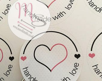 40 Handmade with Love Stickers,  Perfect for parcels, packages, letters, Small Business, Order, Labels, Stickers