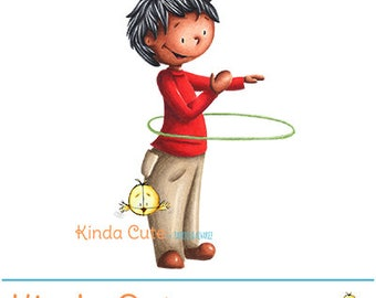 Boy and hula hoop colored digital stamp (colored image only). Instant download. Kinda cute stamps.
