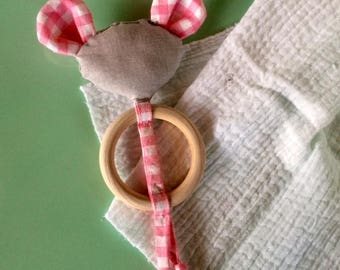 Teething ring rattle mouse