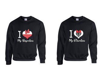 Valentine Gifts I Love My Boyfriend Girlfriend Disney COUPLE Printed Sweatshirts Adult Unisex Crew Neck Shirts for Men Women Matching
