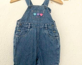 Vintage Kids Baby 90s Next Balloons Kitsch Novelty Chore Denim Blue Jumpsuit Overalls Dungarees 0-3M